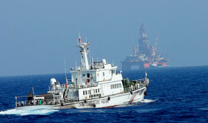 China Coast Guard protects the CNOOC oilrig HS981